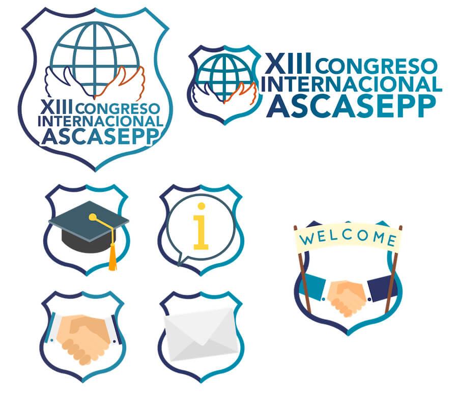 Iconos web diseñados para la página del XIII Congreso Internacional ASCASEPP