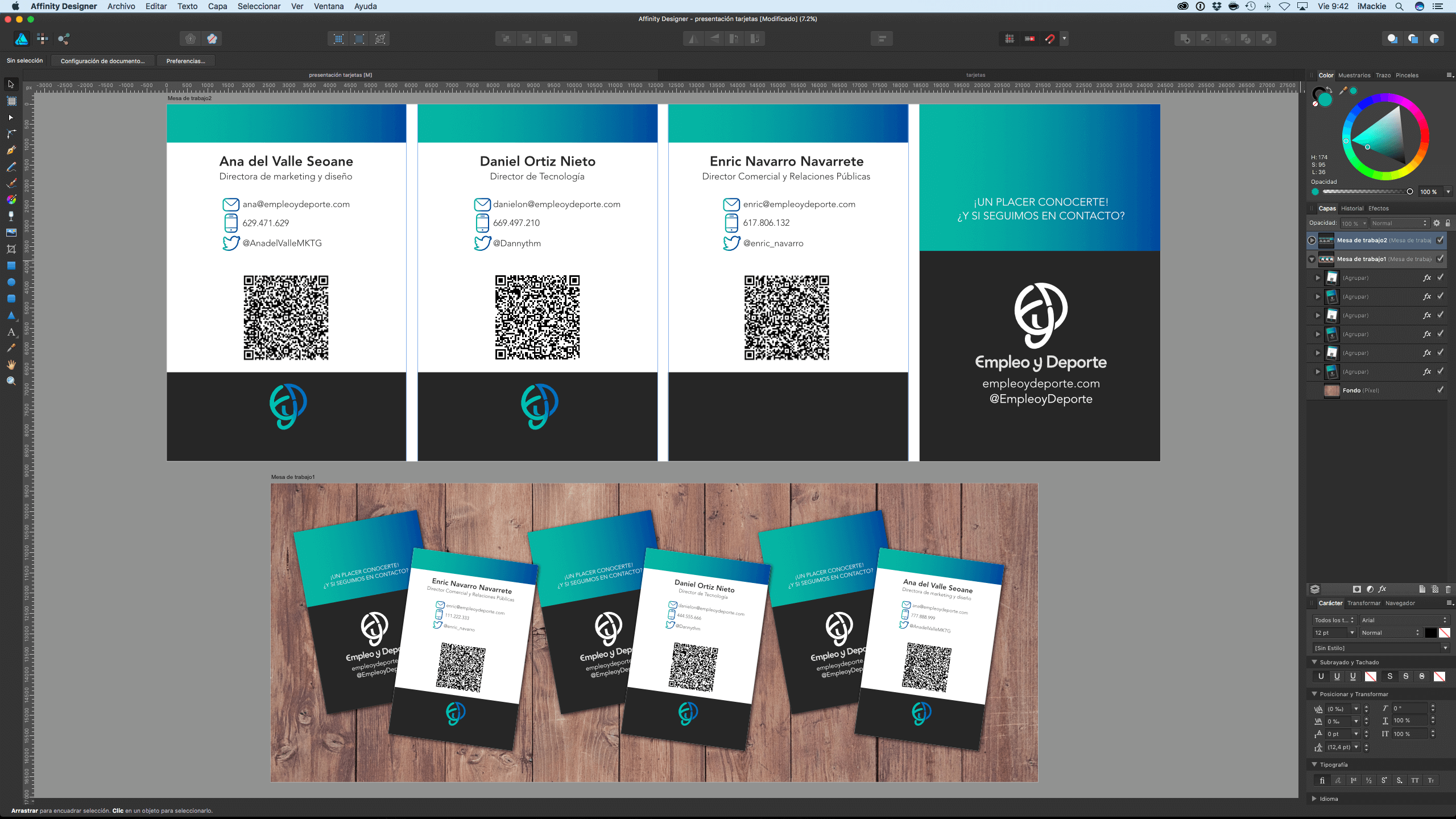 Captura pantalla Affinity Designer tarjetas EyD
