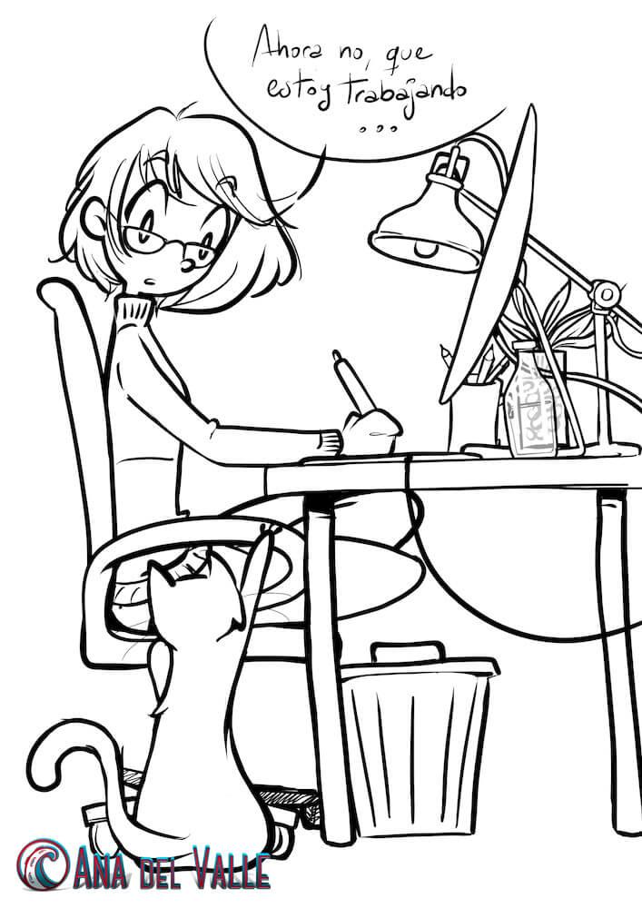 Ilustración comic WIP discreción gatuna 1