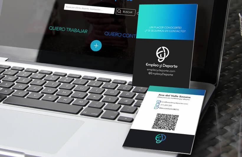 Tarjetas business card Empleo y Deporte ordenador destacada