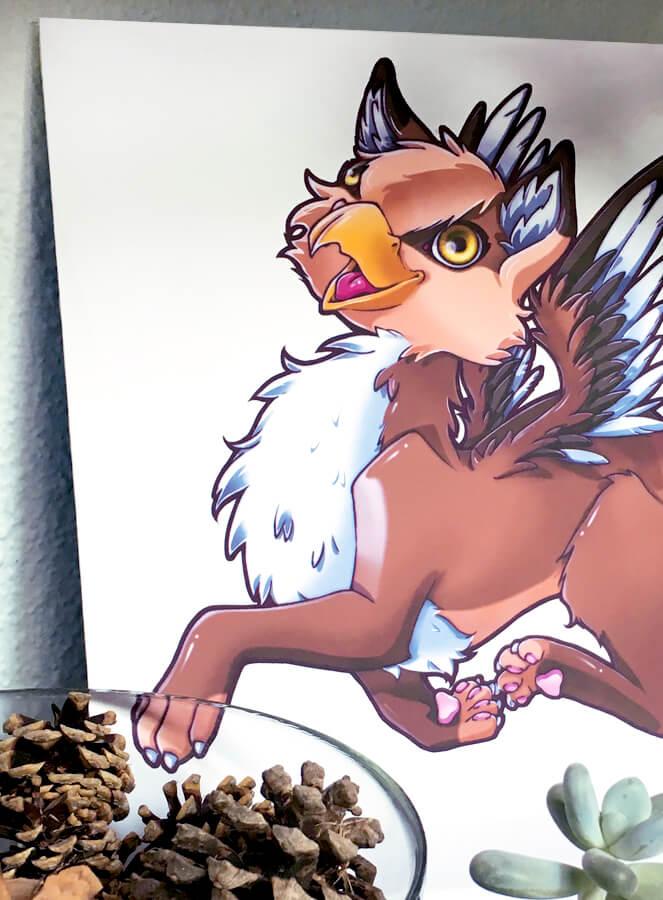 Ilustración sobre cartón pluma My Little Gryphon