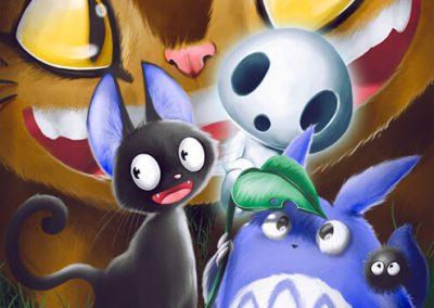 Fanart del diversos personajes de Studio Ghibli