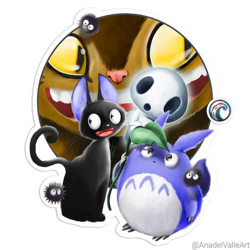 My Little Ghibli crew pegatina