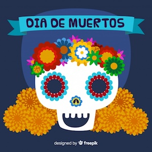 Diseño gratuito para el Día de Muertos Calavera mexicana con flores