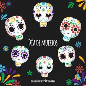 Diseño gratuito para el Día de Muertos Calaveras mexicanas