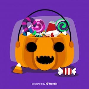 Diseño gratuito para Halloween calabaza caramelos