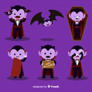 Diseño gratuito para Halloween murciélagos y vampiros