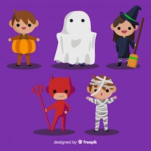 Diseño gratuito para Halloween disfraces fantasma diablo bruja momia calabaza