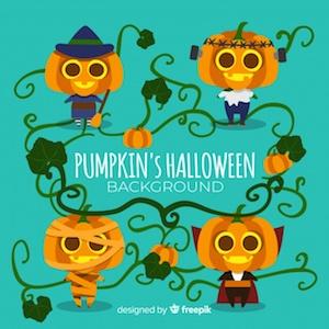 Diseño gratuito para Halloween calabazas disfraces