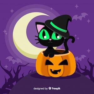 Diseño gratuito para Halloween gato negro