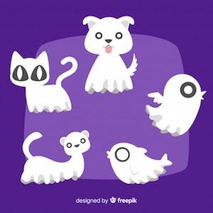 Diseño gratuito para Halloween fantasmas animales