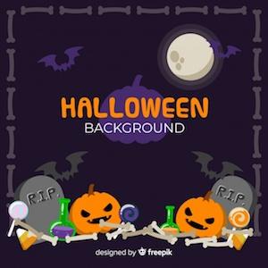 Diseño gratuito para Halloween calabazas en cementerio