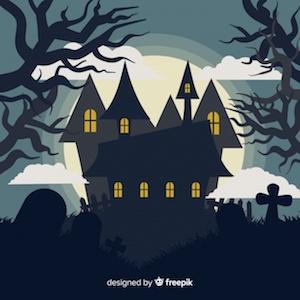 Diseño gratuito para Halloween casa encantada