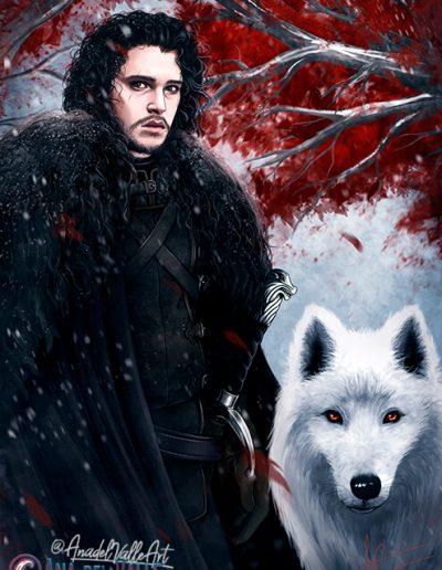 Fanart de Jon Snow, Personaje de la saga Juego de Tronos (Game of Thrones)