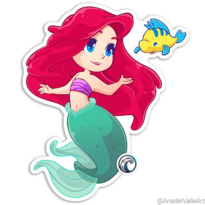 Ariel de La Sirenita The Little Mermaid pegatina sticker