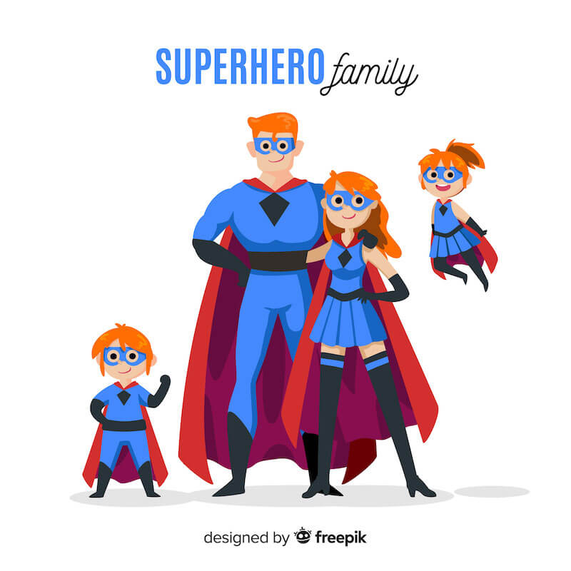 Cartoon-Superhero-Family