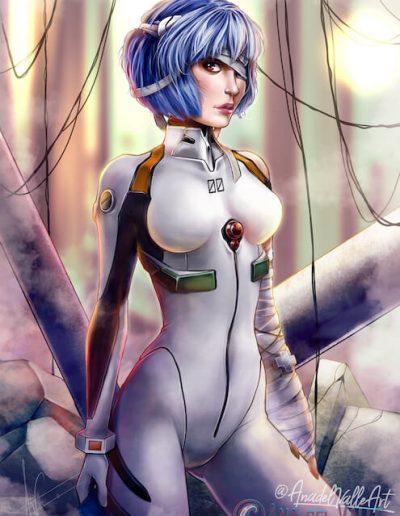 Rei Ayanami, fanart del personaje de Neon Genesis Evangelion, de Gainax
